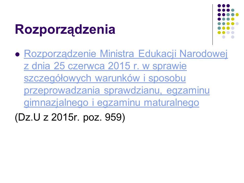 Rozporządzenia Rozporządzenie Ministra Edukacji Narodowej z dnia 25 czerwca 2015 r. w sprawie szczegółowych warunków i sposobu przeprowadzania sprawdz