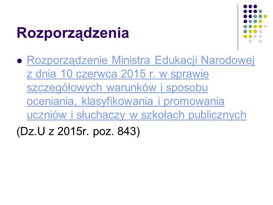 Rozporządzenia Rozporządzenie Ministra Edukacji Narodowej z dnia 10 czerwca 2015 r. w sprawie szczegółowych warunków i sposobu oceniania, klasyfikowan