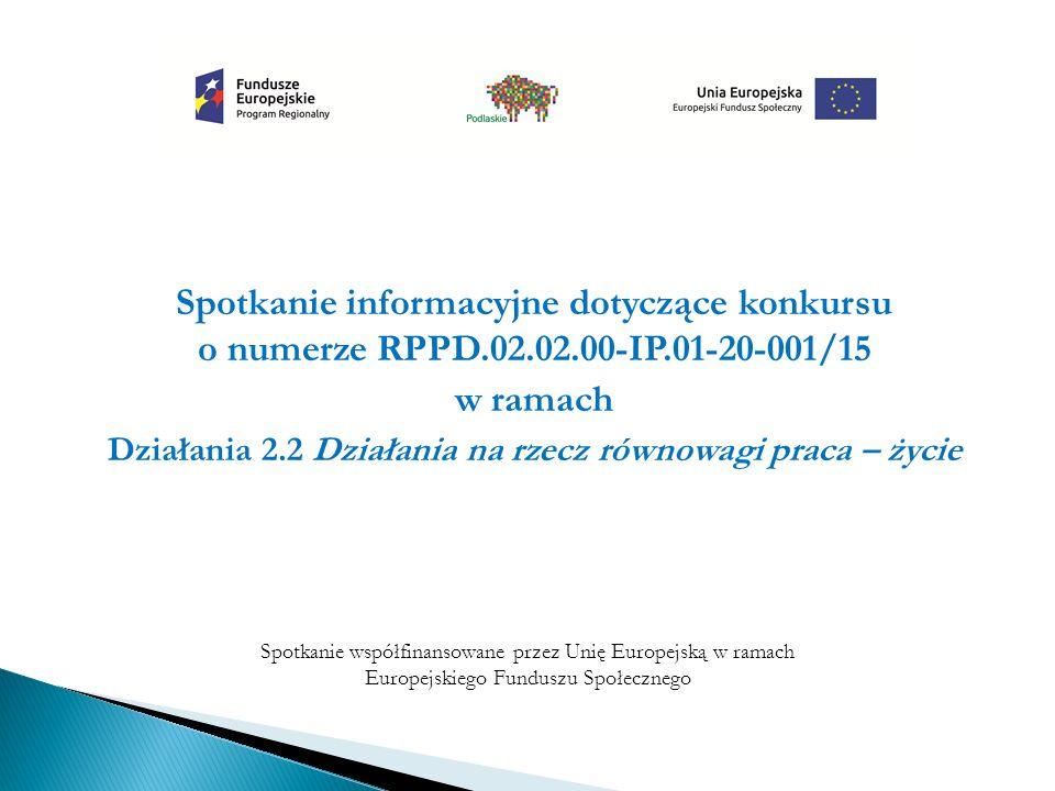 Spotkanie informacyjne dotyczące konkursu o numerze RPPD.02.02.00-IP.01-20-001/15 w ramach Działania 2.2 Działania na rzecz równowagi praca – życie Spotkanie współfinansowane przez Unię Europejską w ramach Europejskiego Funduszu Społecznego