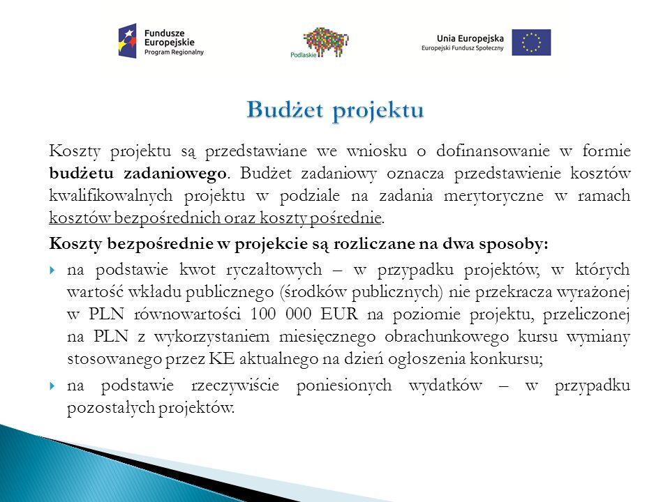 Koszty projektu są przedstawiane we wniosku o dofinansowanie w formie budżetu zadaniowego. Budżet zadaniowy oznacza przedstawienie kosztów kwalifikowa