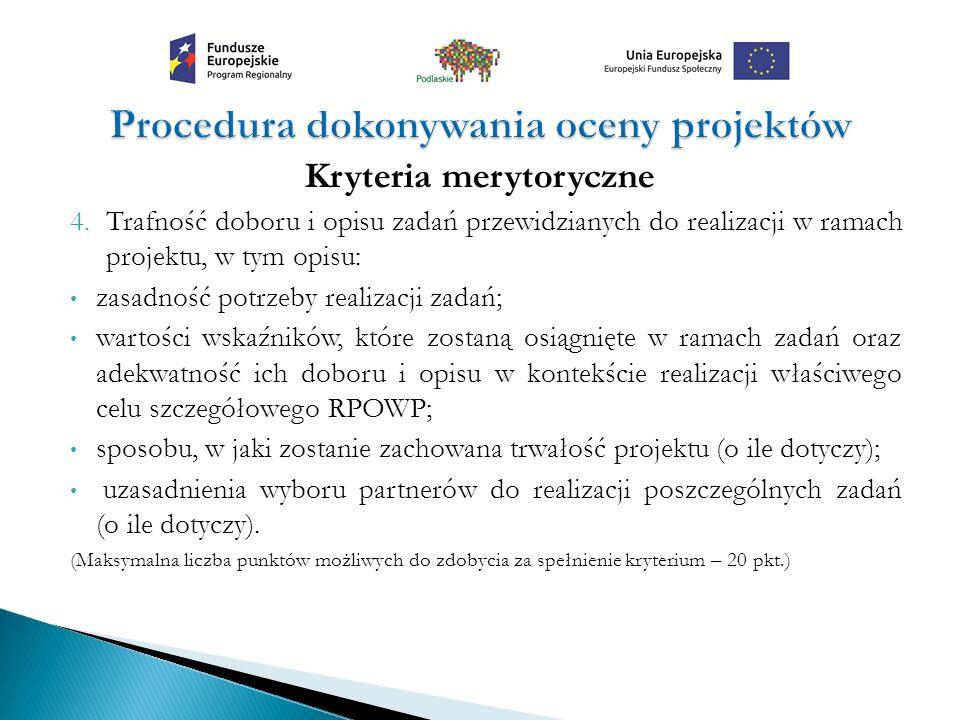 Kryteria merytoryczne 4.Trafność doboru i opisu zadań przewidzianych do realizacji w ramach projektu, w tym opisu: zasadność potrzeby realizacji zadań
