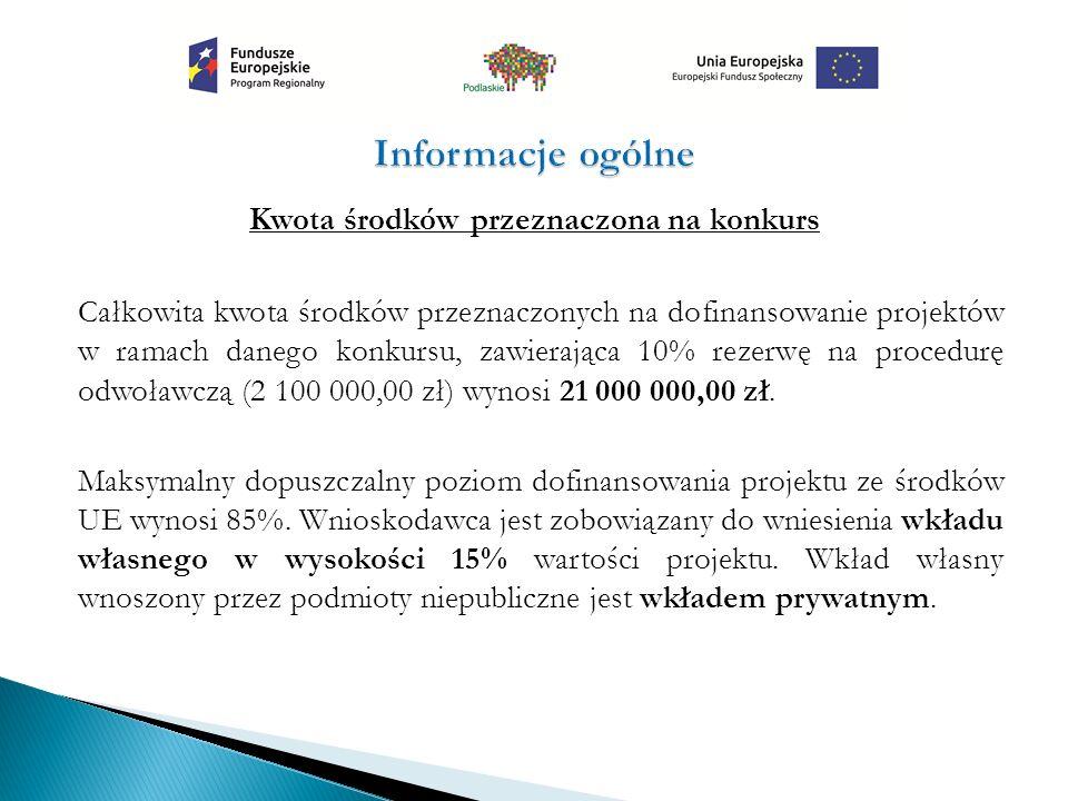 Kwota środków przeznaczona na konkurs Całkowita kwota środków przeznaczonych na dofinansowanie projektów w ramach danego konkursu, zawierająca 10% rezerwę na procedurę odwoławczą (2 100 000,00 zł) wynosi 21 000 000,00 zł.