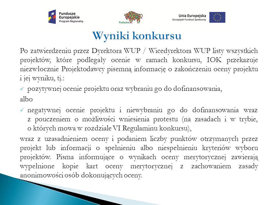 Po zatwierdzeniu przez Dyrektora WUP / Wicedyrektora WUP listy wszystkich projektów, które podlegały ocenie w ramach konkursu, IOK przekazuje niezwłoc