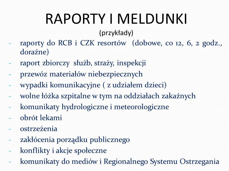 RAPORTY I MELDUNKI (przykłady) - raporty do RCB i CZK resortów (dobowe, co 12, 6, 2 godz., doraźne) - raport zbiorczy służb, straży, inspekcji - przew