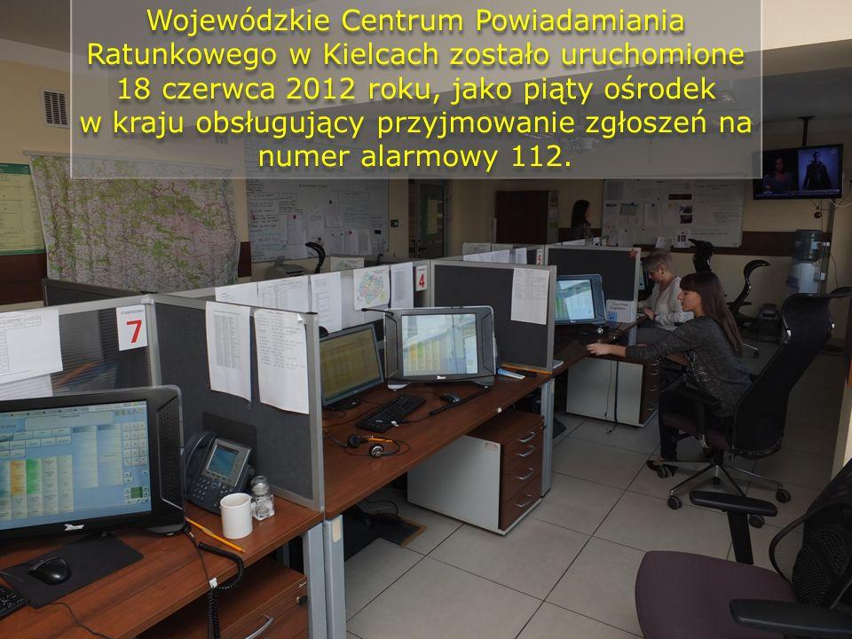 Wojewódzkie Centrum Powiadamiania Ratunkowego w Kielcach zostało uruchomione 18 czerwca 2012 roku, jako piąty ośrodek w kraju obsługujący przyjmowanie