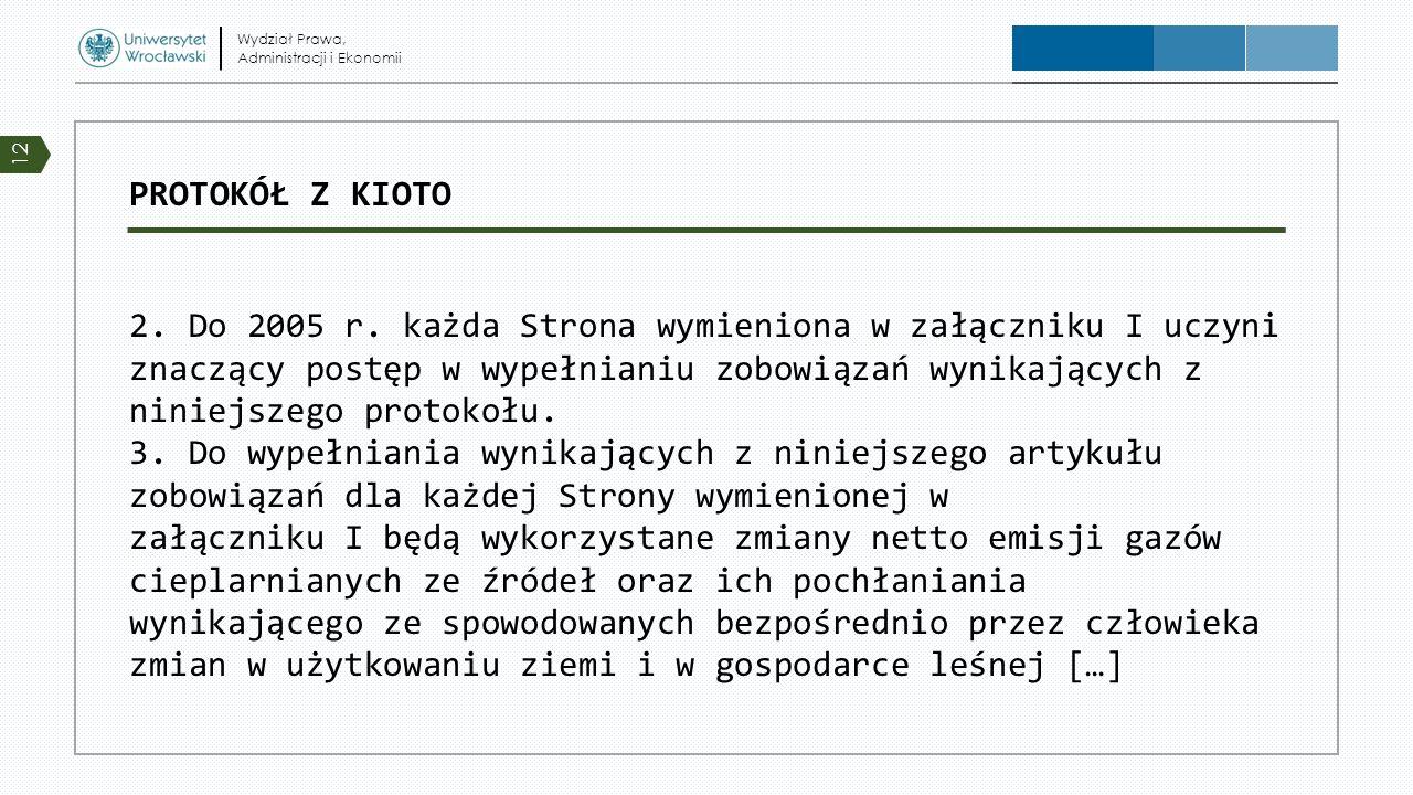 PROTOKÓŁ Z KIOTO 2. Do 2005 r. każda Strona wymieniona w załączniku I uczyni znaczący postęp w wypełnianiu zobowiązań wynikających z niniejszego proto