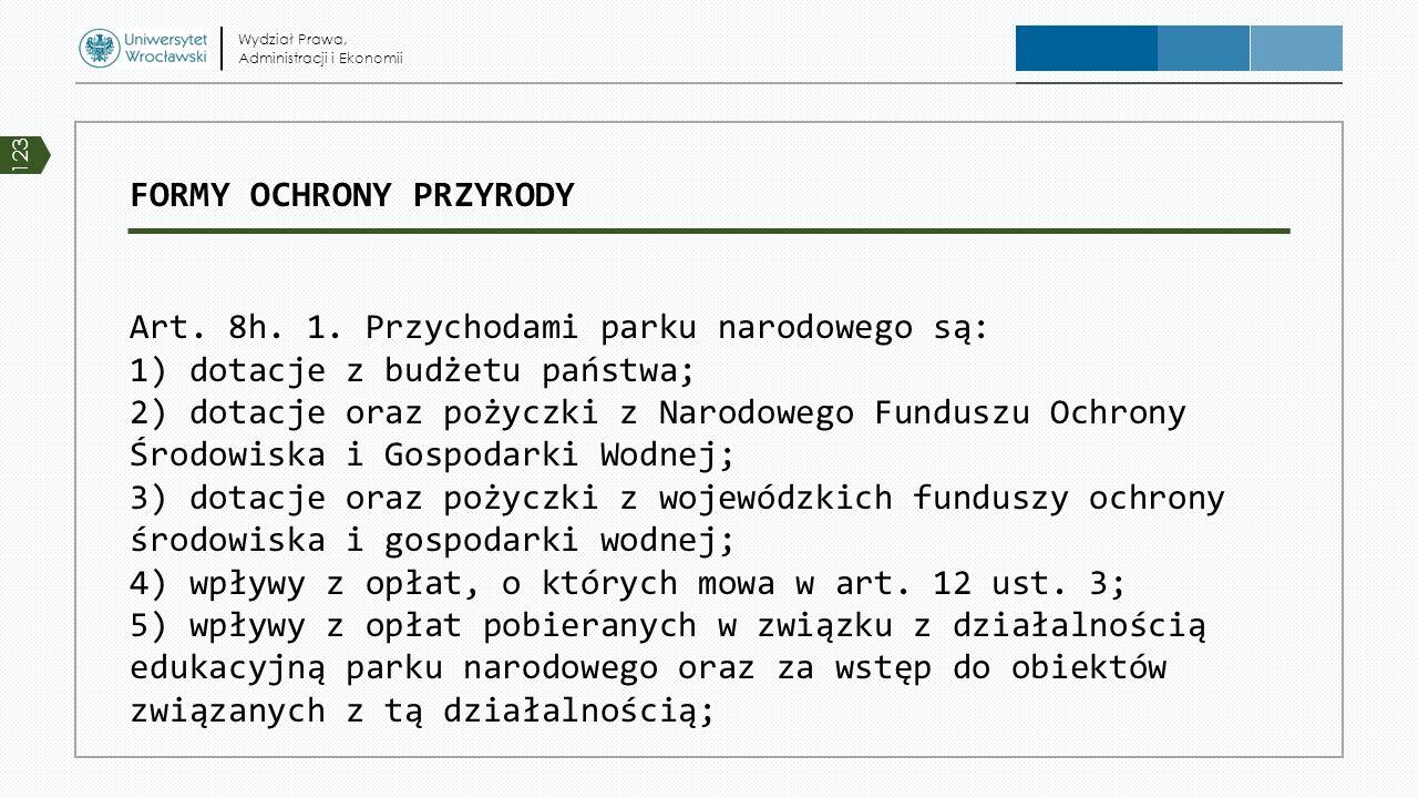 FORMY OCHRONY PRZYRODY Art. 8h. 1. Przychodami parku narodowego są: 1) dotacje z budżetu państwa; 2) dotacje oraz pożyczki z Narodowego Funduszu Ochro