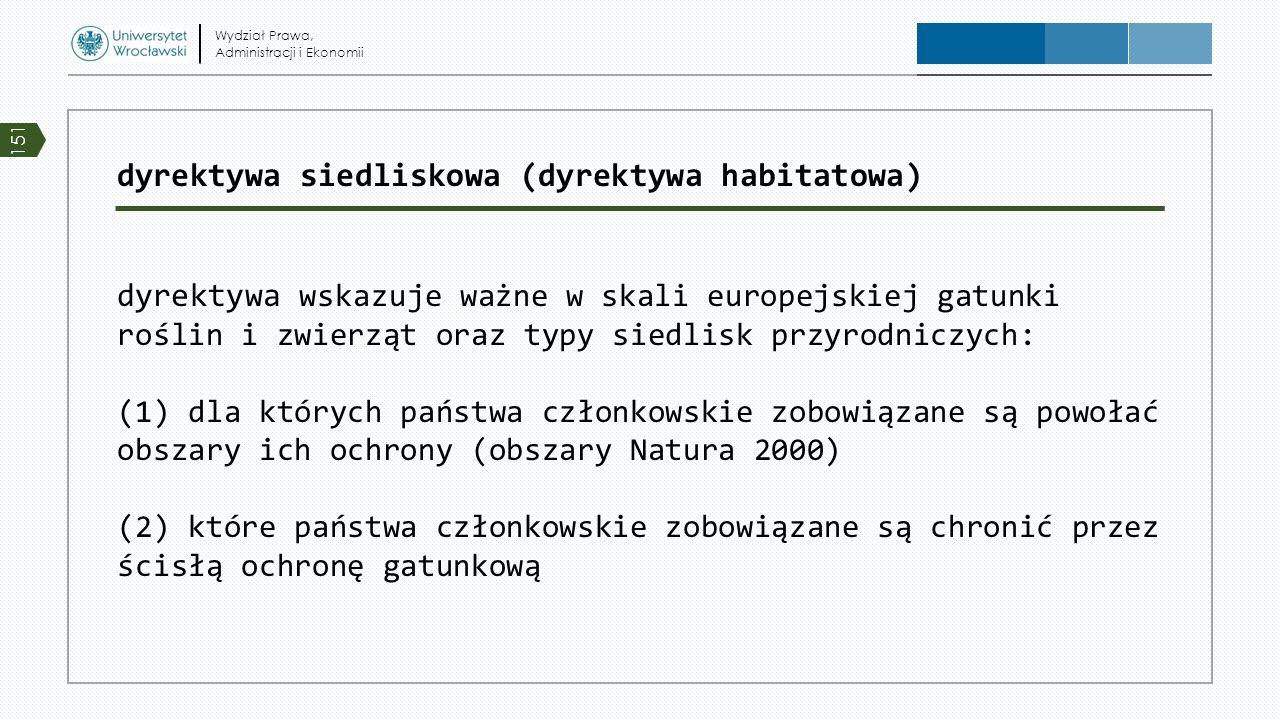 dyrektywa siedliskowa (dyrektywa habitatowa) dyrektywa wskazuje ważne w skali europejskiej gatunki roślin i zwierząt oraz typy siedlisk przyrodniczych