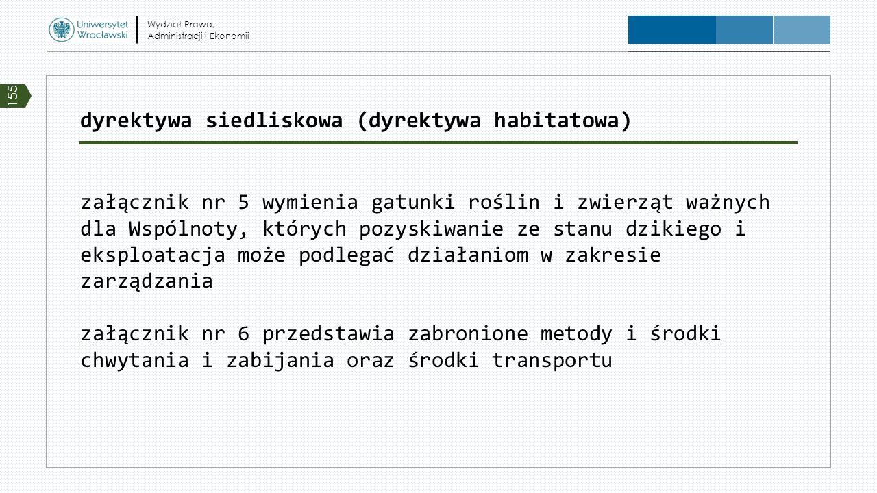 dyrektywa siedliskowa (dyrektywa habitatowa) załącznik nr 5 wymienia gatunki roślin i zwierząt ważnych dla Wspólnoty, których pozyskiwanie ze stanu dz
