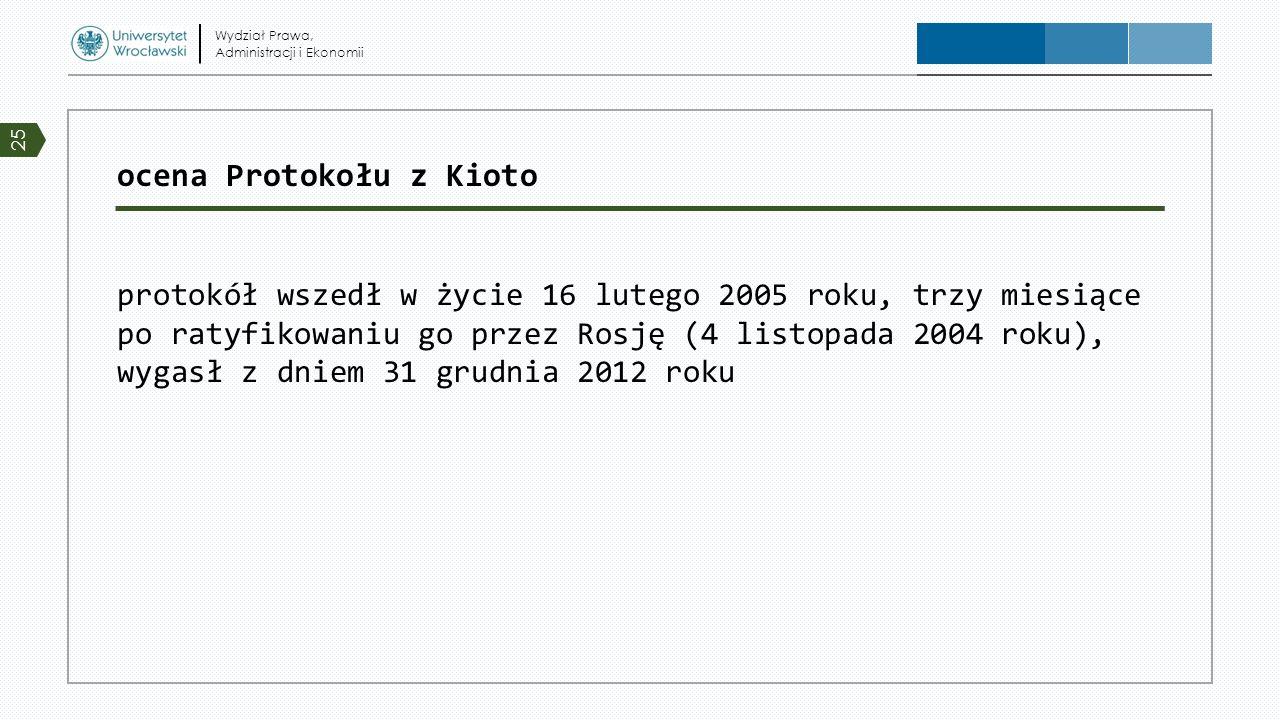 ocena Protokołu z Kioto protokół wszedł w życie 16 lutego 2005 roku, trzy miesiące po ratyfikowaniu go przez Rosję (4 listopada 2004 roku), wygasł z d