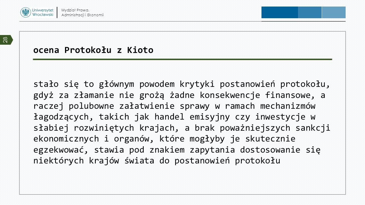 ocena Protokołu z Kioto stało się to głównym powodem krytyki postanowień protokołu, gdyż za złamanie nie grożą żadne konsekwencje finansowe, a raczej