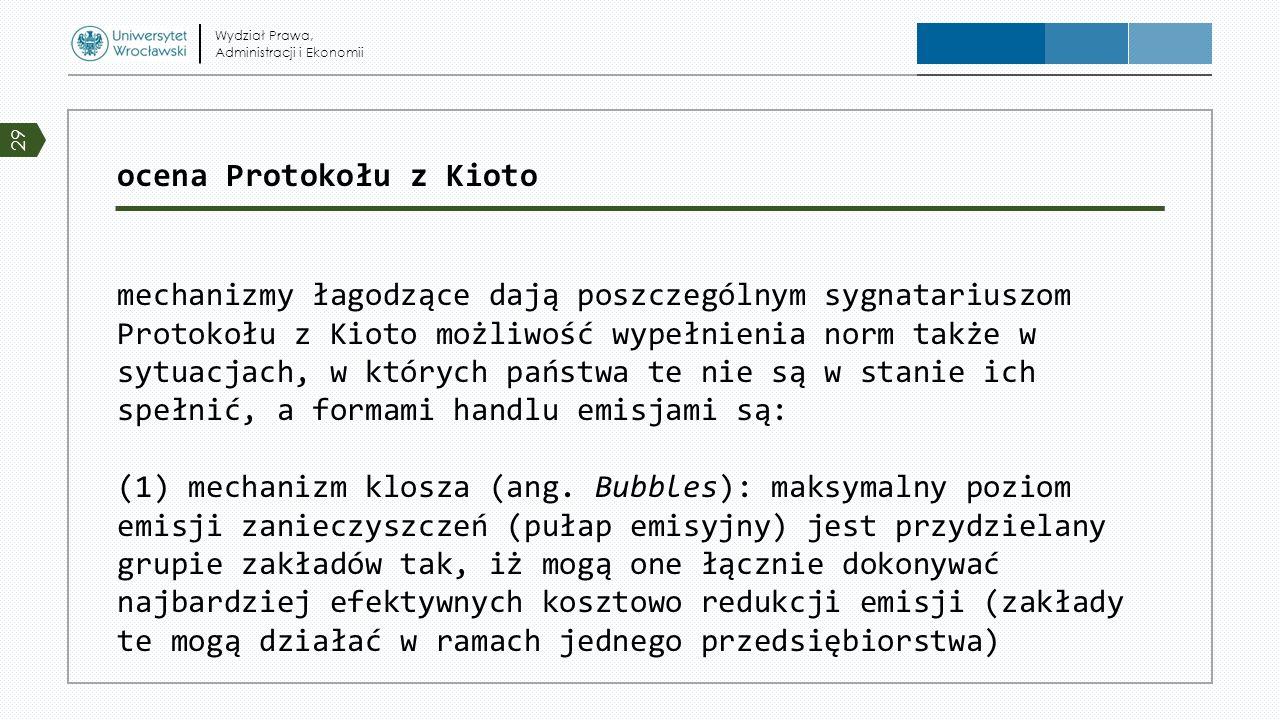 ocena Protokołu z Kioto mechanizmy łagodzące dają poszczególnym sygnatariuszom Protokołu z Kioto możliwość wypełnienia norm także w sytuacjach, w któr
