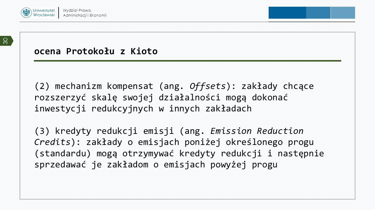 ocena Protokołu z Kioto (2) mechanizm kompensat (ang. Offsets): zakłady chcące rozszerzyć skalę swojej działalności mogą dokonać inwestycji redukcyjny