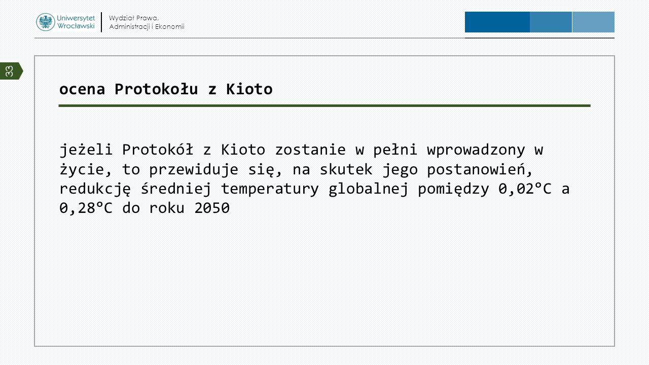 ocena Protokołu z Kioto jeżeli Protokół z Kioto zostanie w pełni wprowadzony w życie, to przewiduje się, na skutek jego postanowień, redukcję średniej