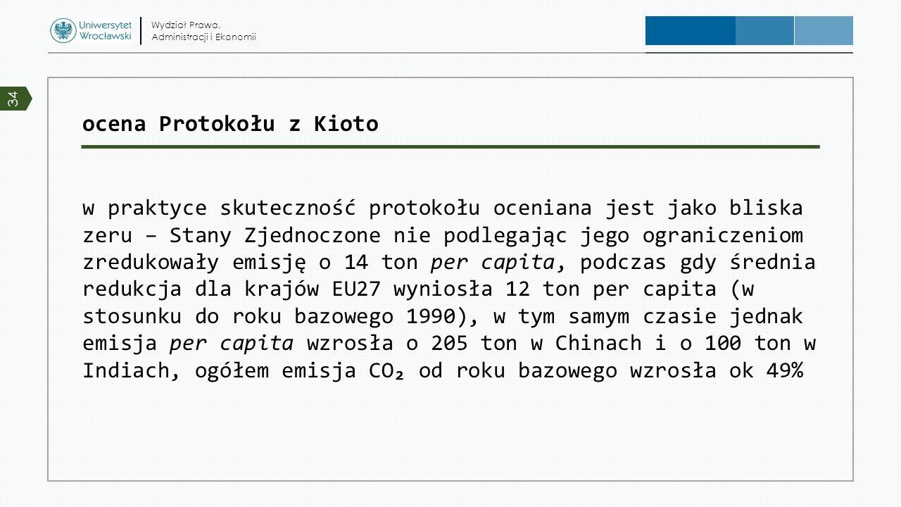 ocena Protokołu z Kioto w praktyce skuteczność protokołu oceniana jest jako bliska zeru – Stany Zjednoczone nie podlegając jego ograniczeniom zredukow