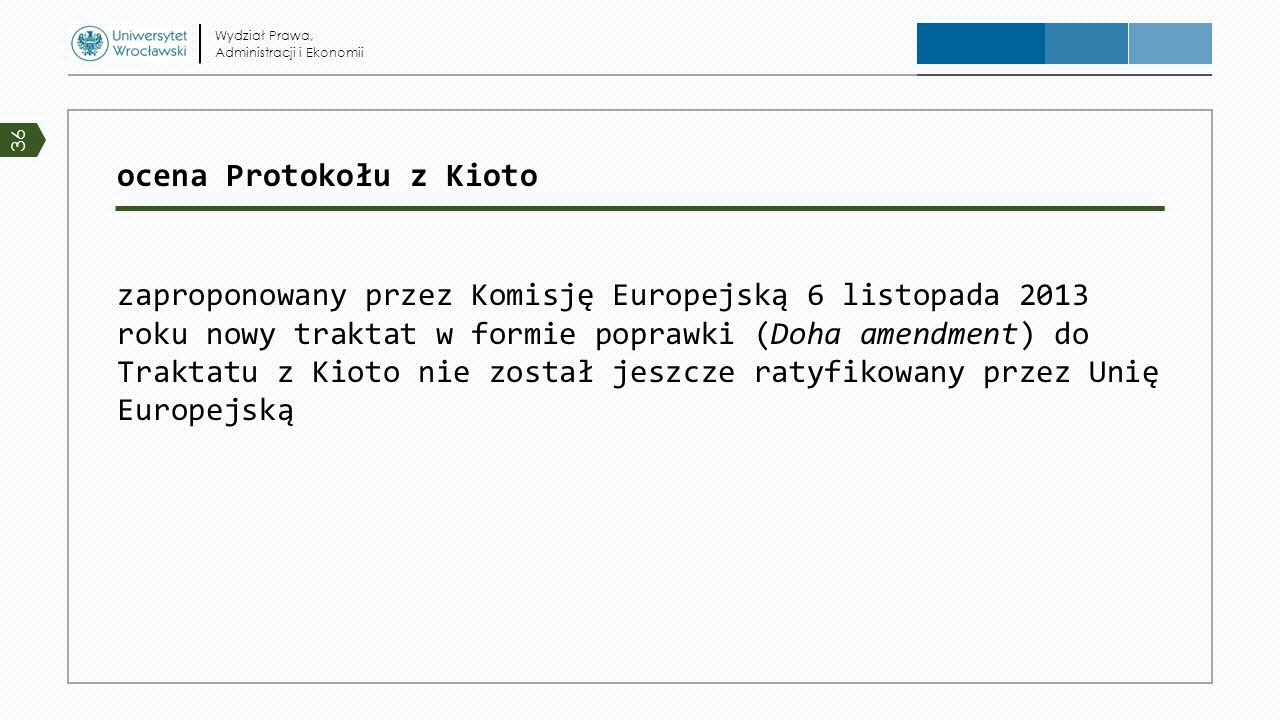 ocena Protokołu z Kioto zaproponowany przez Komisję Europejską 6 listopada 2013 roku nowy traktat w formie poprawki (Doha amendment) do Traktatu z Kio
