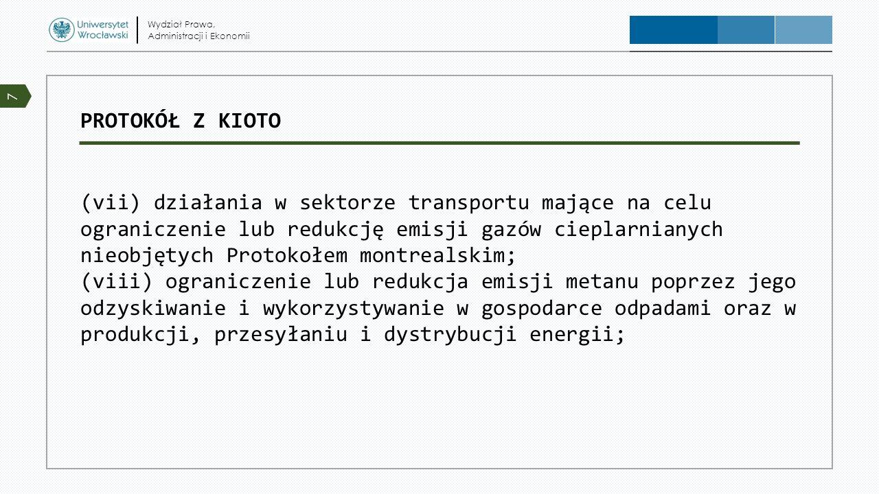 PROTOKÓŁ Z KIOTO (vii) działania w sektorze transportu mające na celu ograniczenie lub redukcję emisji gazów cieplarnianych nieobjętych Protokołem mon