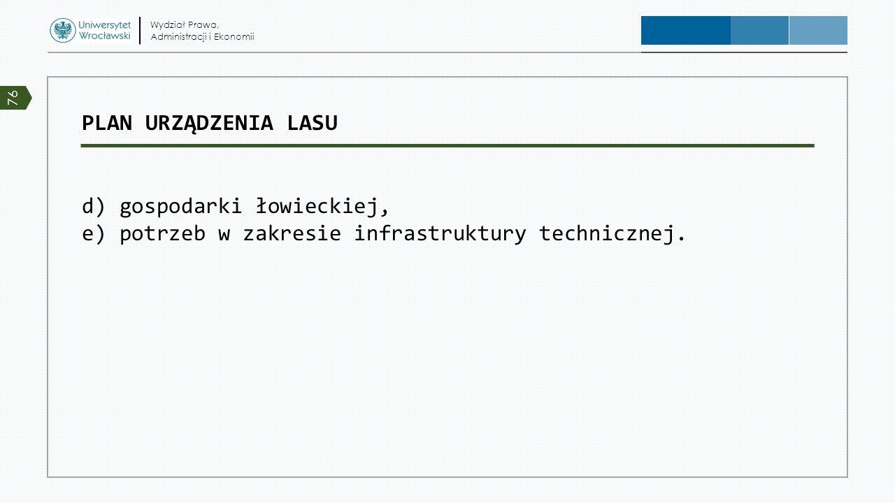 PLAN URZĄDZENIA LASU d) gospodarki łowieckiej, e) potrzeb w zakresie infrastruktury technicznej. Wydział Prawa, Administracji i Ekonomii 76