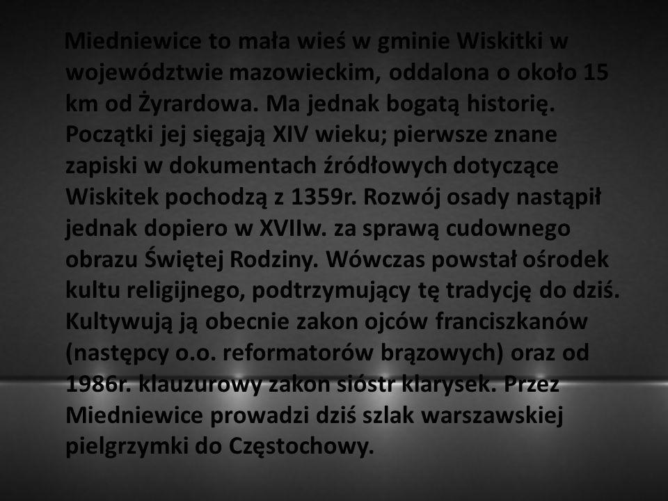 Miedniewice to mała wieś w gminie Wiskitki w województwie mazowieckim, oddalona o około 15 km od Żyrardowa. Ma jednak bogatą historię. Początki jej si