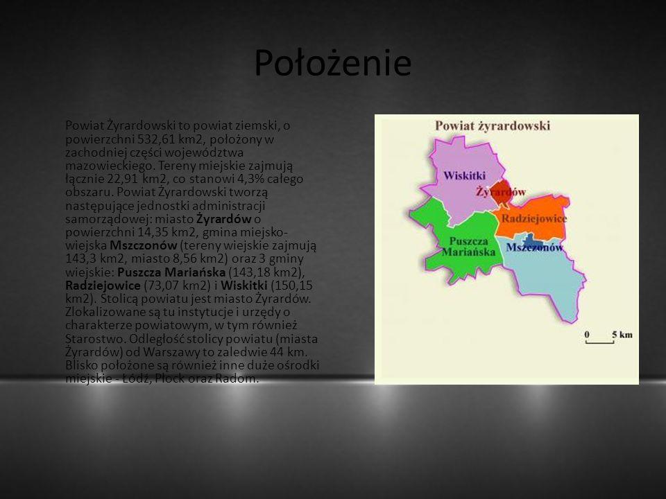 Położenie Powiat Żyrardowski to powiat ziemski, o powierzchni 532,61 km2, położony w zachodniej części województwa mazowieckiego. Tereny miejskie zajm