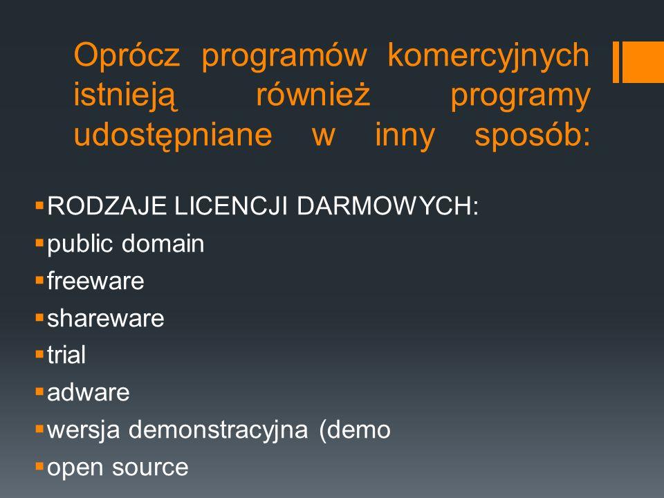 Oprócz programów komercyjnych istnieją również programy udostępniane w inny sposób:  RODZAJE LICENCJI DARMOWYCH:  public domain  freeware  sharewa