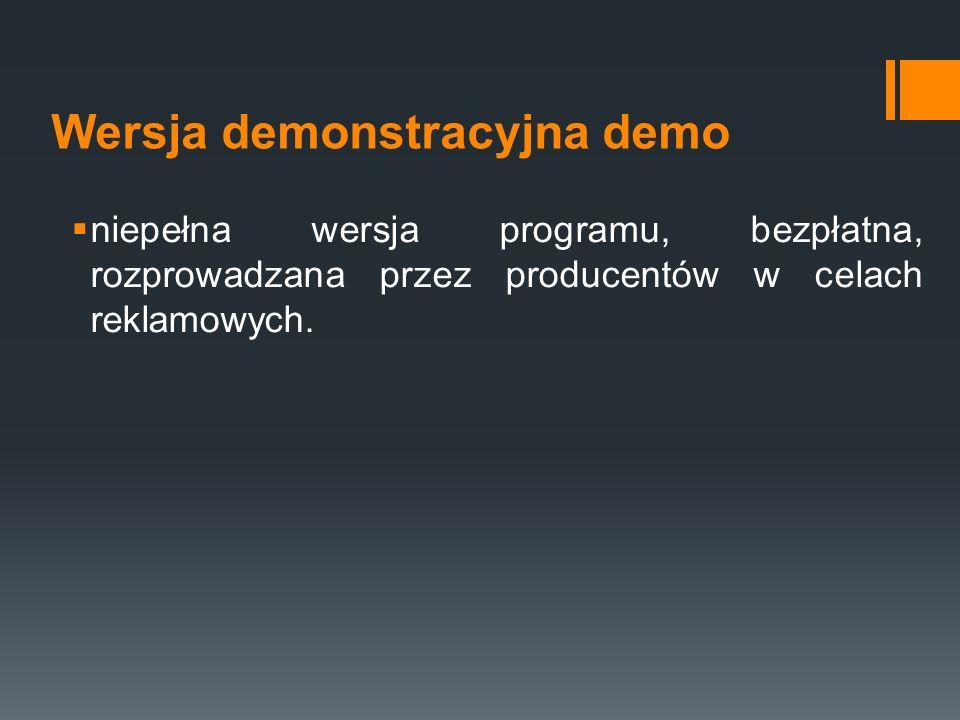 Wersja demonstracyjna demo  niepełna wersja programu, bezpłatna, rozprowadzana przez producentów w celach reklamowych.