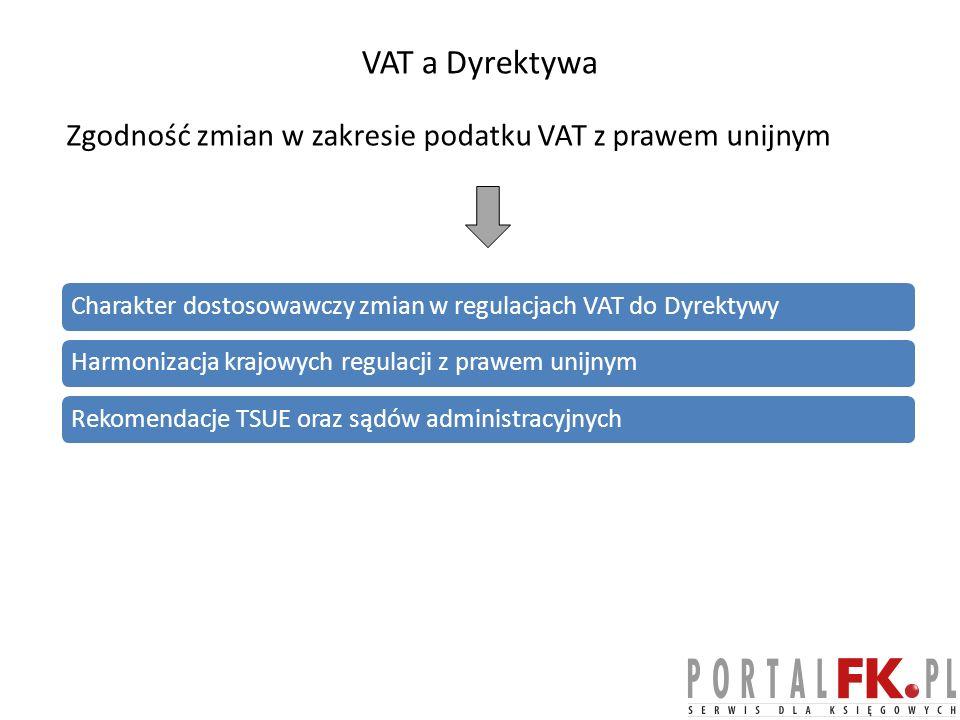 VAT a Dyrektywa Zgodność zmian w zakresie podatku VAT z prawem unijnym Charakter dostosowawczy zmian w regulacjach VAT do DyrektywyHarmonizacja krajowych regulacji z prawem unijnymRekomendacje TSUE oraz sądów administracyjnych