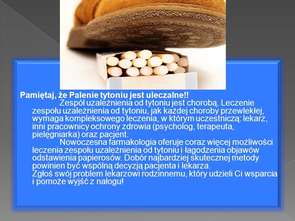 Pamiętaj, że Palenie tytoniu jest uleczalne!! Zespół uzależnienia od tytoniu jest chorobą. Leczenie zespołu uzależnienia od tytoniu, jak każdej chorob