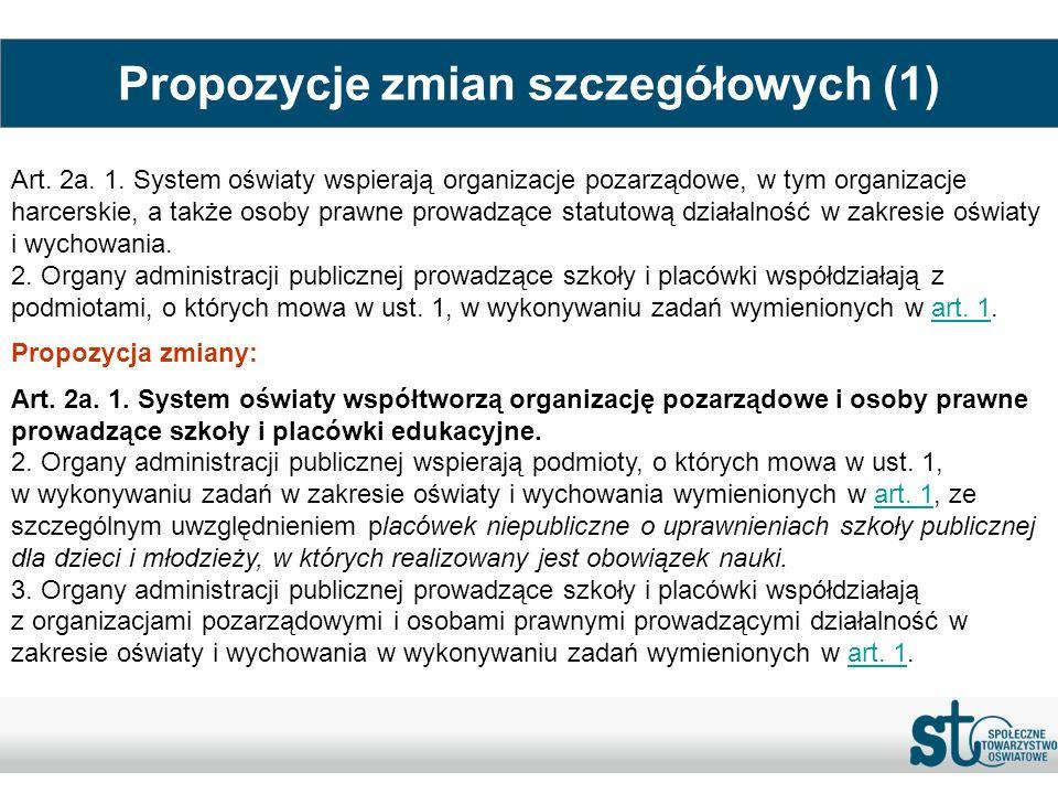 Propozycje zmian szczegółowych (1) Art. 2a. 1. System oświaty wspierają organizacje pozarządowe, w tym organizacje harcerskie, a także osoby prawne pr