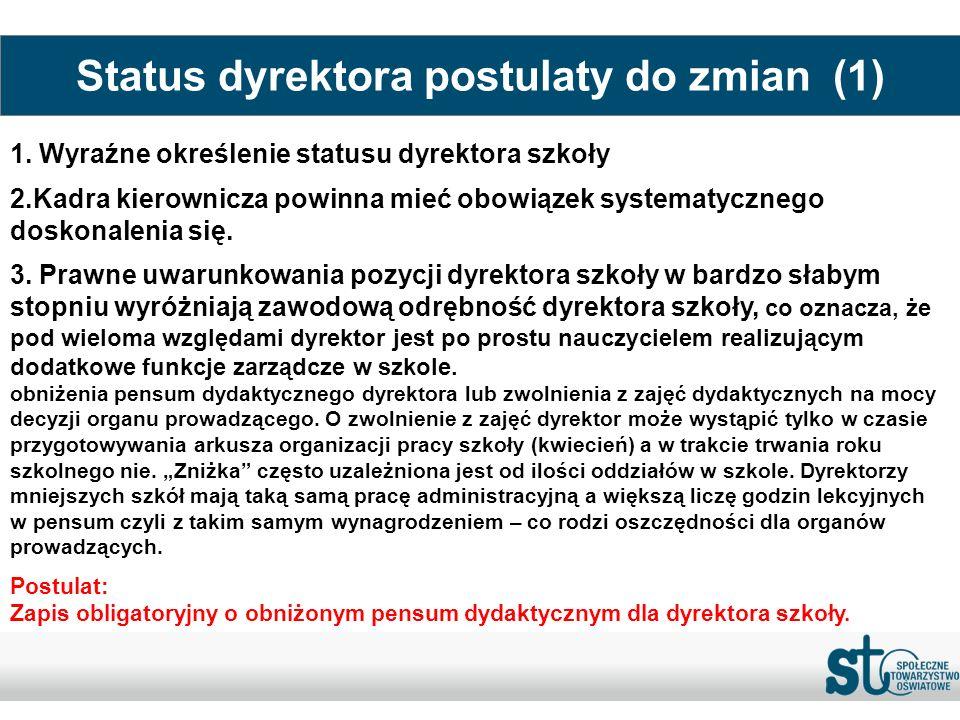 Status dyrektora postulaty do zmian (1) 1. Wyraźne określenie statusu dyrektora szkoły 2.Kadra kierownicza powinna mieć obowiązek systematycznego dosk