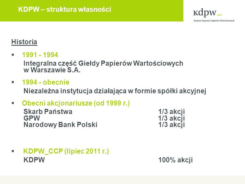 KDPW – struktura własności Historia  1991 - 1994 Integralna część Giełdy Papierów Wartościowych w Warszawie S.A.  1994 - obecnie Niezależna instytuc