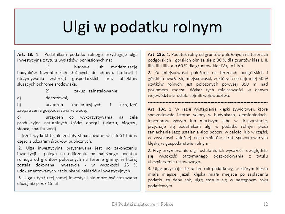 Ulgi w podatku rolnym Art.13. 1.