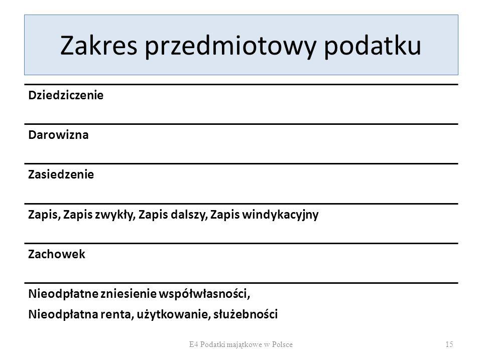 Zakres przedmiotowy podatku Dziedziczenie Darowizna Zasiedzenie Zapis, Zapis zwykły, Zapis dalszy, Zapis windykacyjny Zachowek Nieodpłatne zniesienie współwłasności, Nieodpłatna renta, użytkowanie, służebności E4 Podatki majątkowe w Polsce15