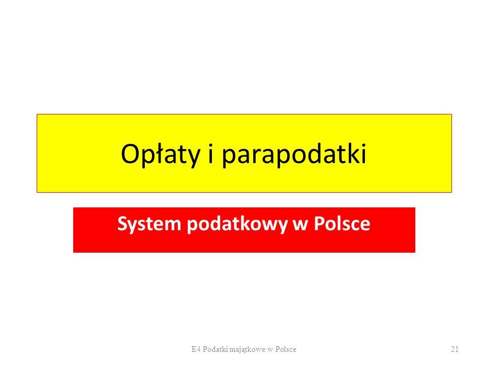 Opłaty i parapodatki System podatkowy w Polsce E4 Podatki majątkowe w Polsce21