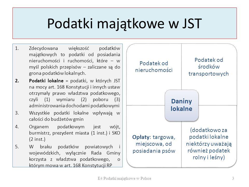 Podatki majątkowe w JST 1.Zdecydowana większość podatków majątkowych to podatki od posiadania nieruchomości i ruchomości, które – w myśl polskich przepisów – zaliczane są do grona podatków lokalnych.