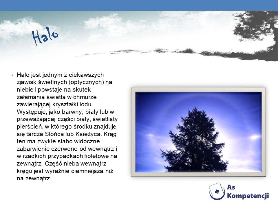 Halo Halo jest jednym z ciekawszych zjawisk świetlnych (optycznych) na niebie i powstaje na skutek załamania światła w chmurze zawierającej kryształki lodu.