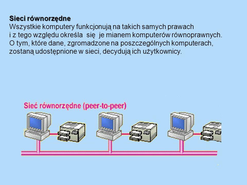 Sieci równorzędne Wszystkie komputery funkcjonują na takich samych prawach i z tego względu określa się je mianem komputerów równoprawnych. O tym, któ