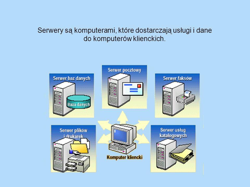 Serwery są komputerami, które dostarczają usługi i dane do komputerów klienckich.