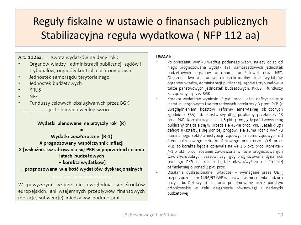 Reguły fiskalne w ustawie o finansach publicznych Stabilizacyjna reguła wydatkowa ( NFP 112 aa) Art. 112aa. 1. Kwota wydatków na dany rok : Organów wł