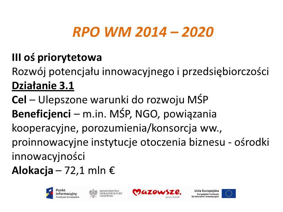 III oś priorytetowa Rozwój potencjału innowacyjnego i przedsiębiorczości Działanie 3.1 Cel – Ulepszone warunki do rozwoju MŚP Beneficjenci – m.in. MŚP