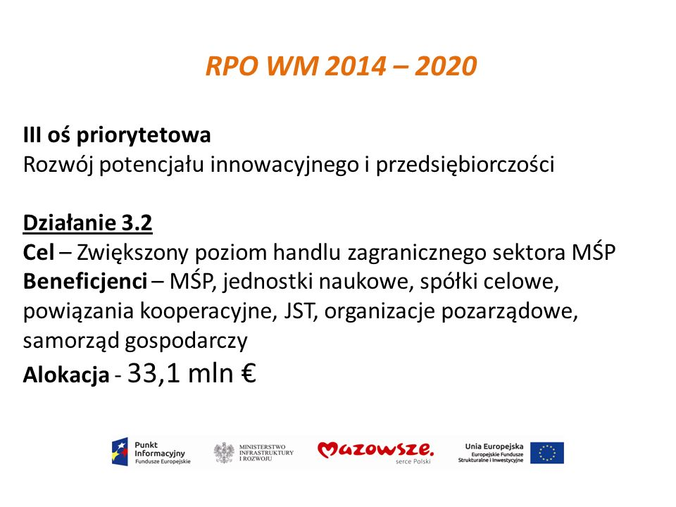 III oś priorytetowa Rozwój potencjału innowacyjnego i przedsiębiorczości Działanie 3.2 Cel – Zwiększony poziom handlu zagranicznego sektora MŚP Benefi