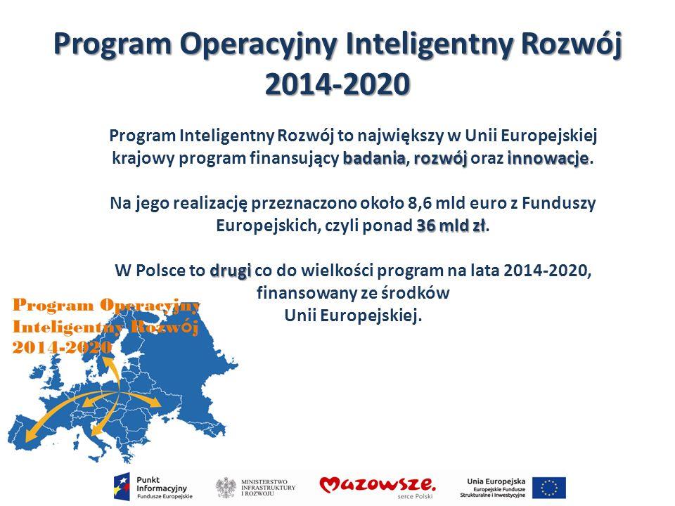 Program Operacyjny Inteligentny Rozwój 2014-2020 badaniarozwójinnowacje Program Inteligentny Rozwój to największy w Unii Europejskiej krajowy program