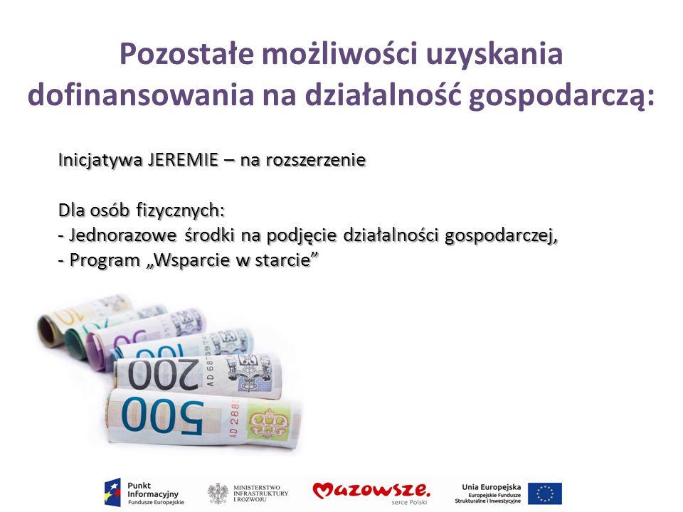 Pozostałe możliwości uzyskania dofinansowania na działalność gospodarczą: Inicjatywa JEREMIE – na rozszerzenie Dla osób fizycznych: - Jednorazowe środ