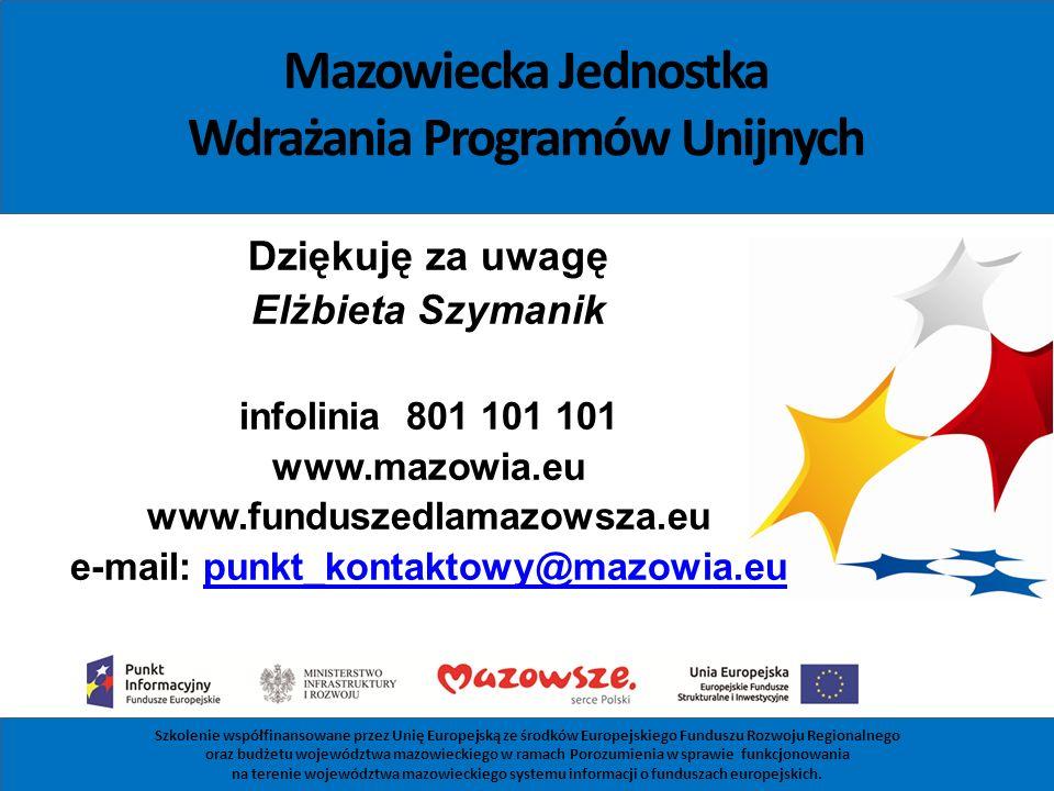 Mazowiecka Jednostka Wdrażania Programów Unijnych Dziękuję za uwagę Elżbieta Szymanik infolinia 801 101 101 www.mazowia.eu www.funduszedlamazowsza.eu