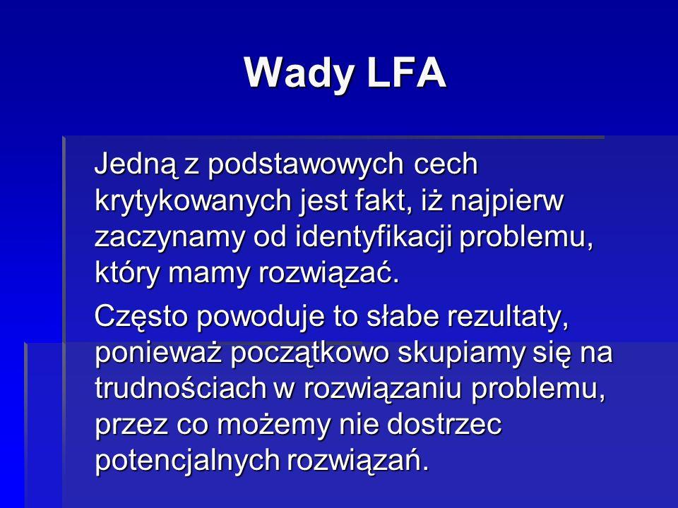 Wady LFA Jedną z podstawowych cech krytykowanych jest fakt, iż najpierw zaczynamy od identyfikacji problemu, który mamy rozwiązać. Jedną z podstawowyc