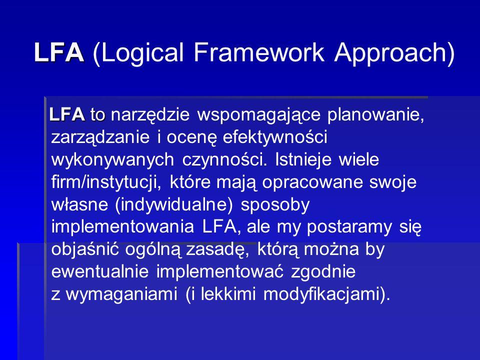LFA LFA (Logical Framework Approach) LFA to LFA to narzędzie wspomagające planowanie, zarządzanie i ocenę efektywności wykonywanych czynności. Istniej