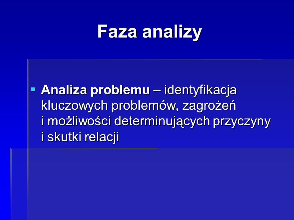 Faza analizy  Analiza problemu – identyfikacja kluczowych problemów, zagrożeń i możliwości determinujących przyczyny i skutki relacji