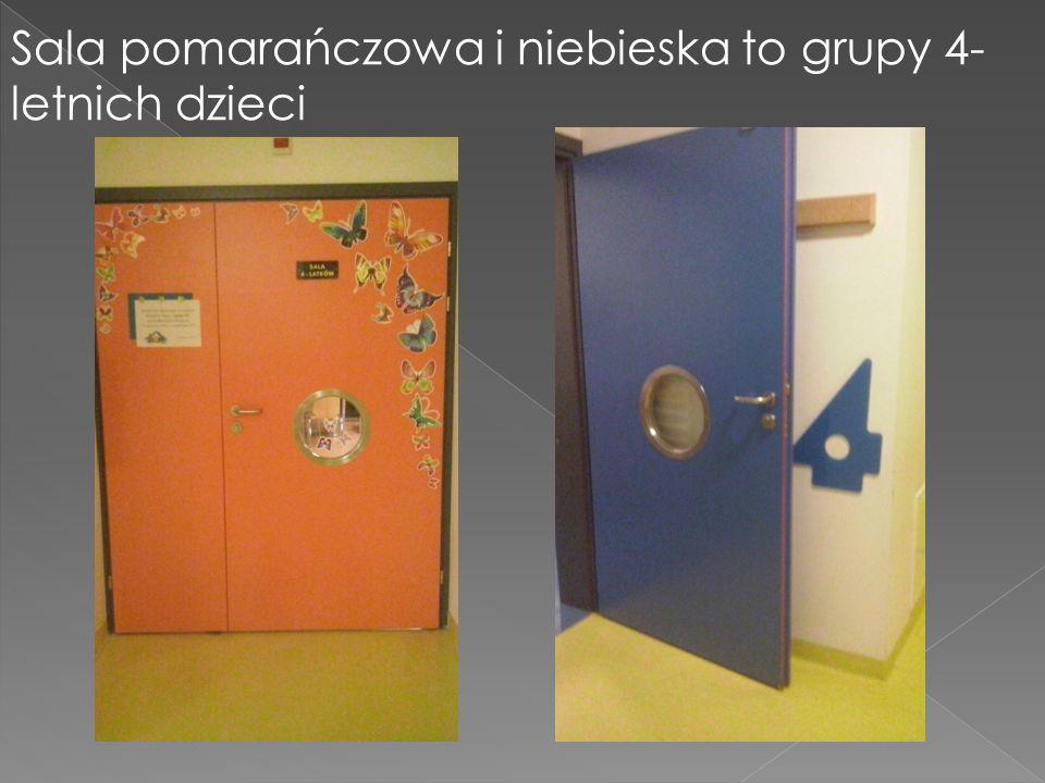Sala pomarańczowa i niebieska to grupy 4- letnich dzieci