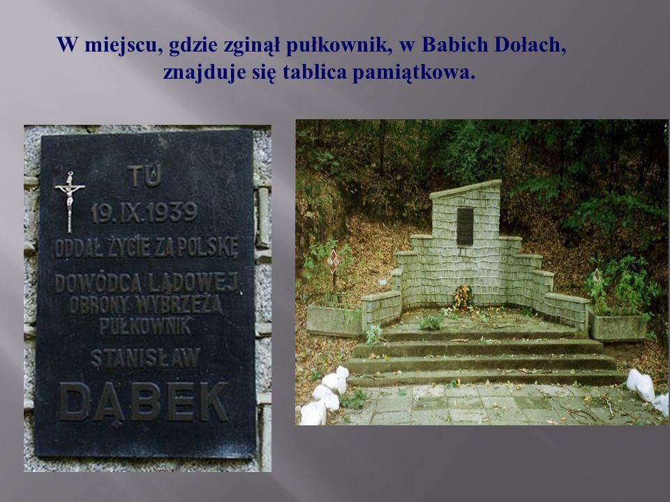 W miejscu, gdzie zginął pułkownik, w Babich Dołach, znajduje się tablica pamiątkowa.