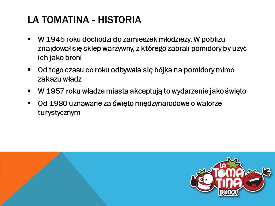 LA TOMATINA - HISTORIA  W 1945 roku dochodzi do zamieszek młodzieży.